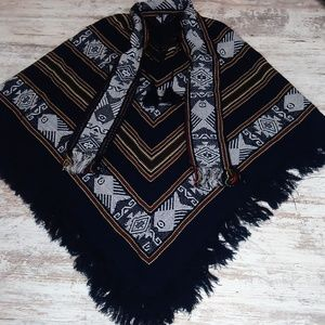 Ecuador Wool Blend Multi Color Fringe Poncho